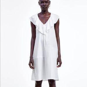 NWT's Zara Ruffled Off White Dress Size Medium